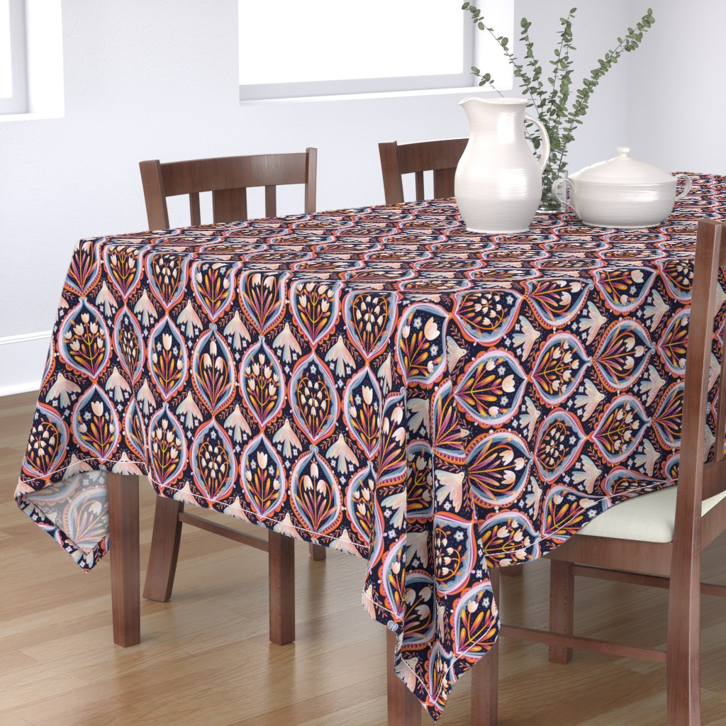 Bantam Rectangular Tablecloth featuring Modern floral ornament pattern by stolenpencil