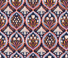 Modern floral ornament pattern
