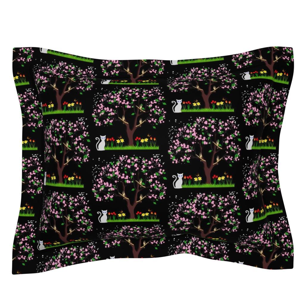 Sebright Pillow Sham featuring Tree in Spring! Night, black by bravenewart