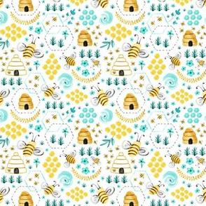 Busy Bees - Aqua Watercolor - Small Scale