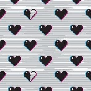Glitch black gaming hearts