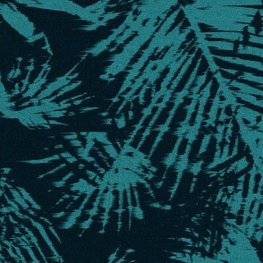 Tropical palm leaves teal blue green black LARGE