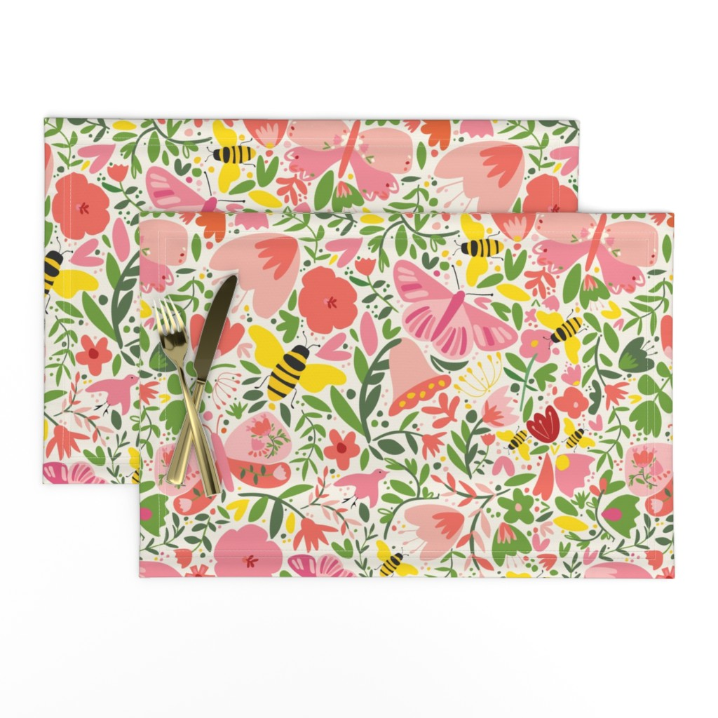 Lamona Cloth Placemats featuring butterfliesandbees by loo_mcnulty