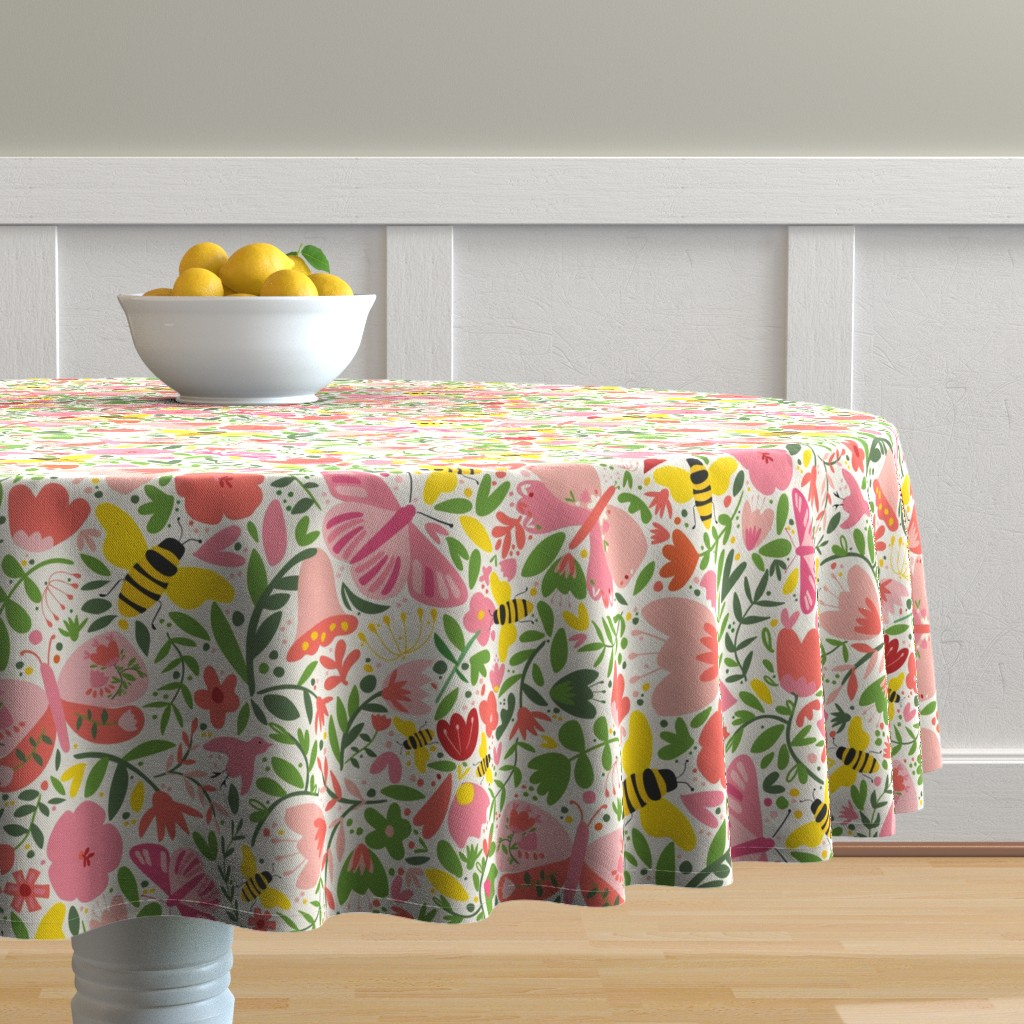Malay Round Tablecloth featuring butterfliesandbees by loo_mcnulty