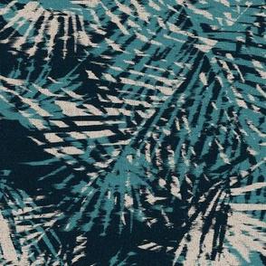 Bohemian paradise green beige black palm leaves large