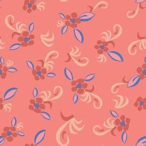 bright floral in pink and blue