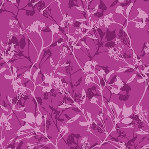 Silhouette bright, purple flowers in monochrome color palette of purple.