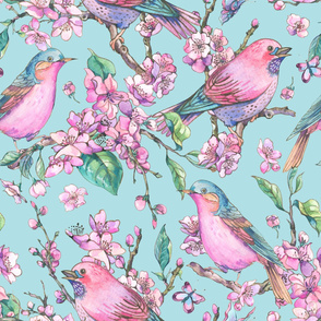 Pair of  Birds and Blooming Branches of Cherry