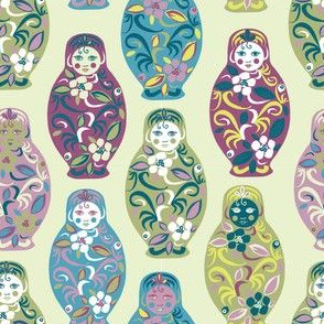 Russian dolls in teal and aubergine