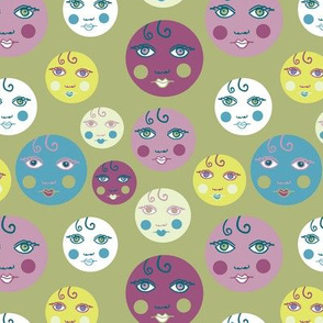 hey doll face in teal and aubergine
