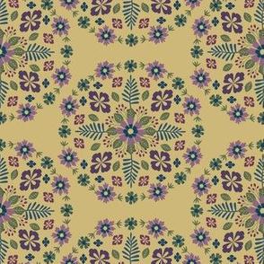 Floral Mandala - Chartruese, Purple, Green