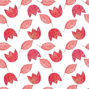 red flowers and leaves on white background