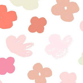 Big Flowers White Multi M+M Pinks by Friztin