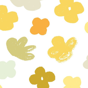 Big Flowers White Multi M+M Yellows by Friztin
