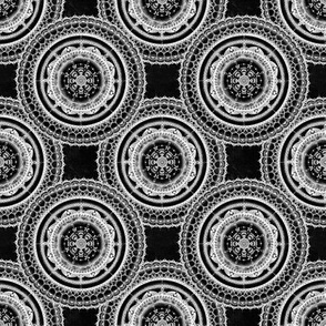 Black and white lacy mandala