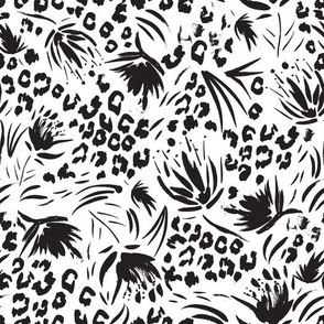 Animal attraction floral splash Black and White