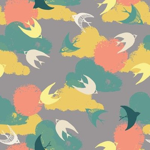 fly free in coral green and yellow