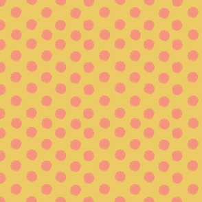 Sun polka dot in coral and gold