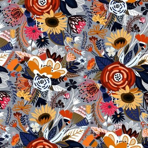Popping Floral - Orange & Navy - Small