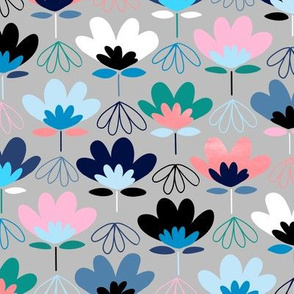 Fun Fan Flowers -  Cool Colors - Large