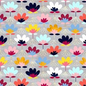 Textured Fan Flowers - Rainbow - Small
