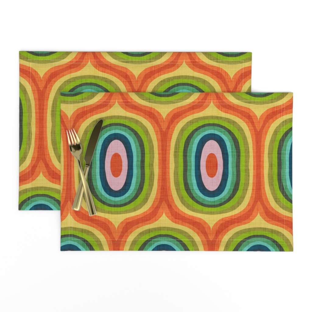 Lamona Cloth Placemats featuring Maximalist Ovals - Red by scarlette_soleil