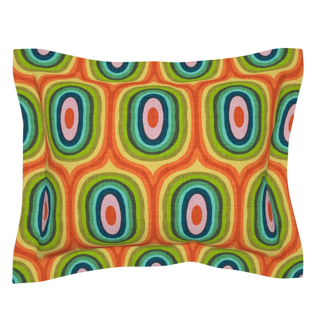 Sebright Pillow Sham featuring Maximalist Ovals - Red by scarlette_soleil