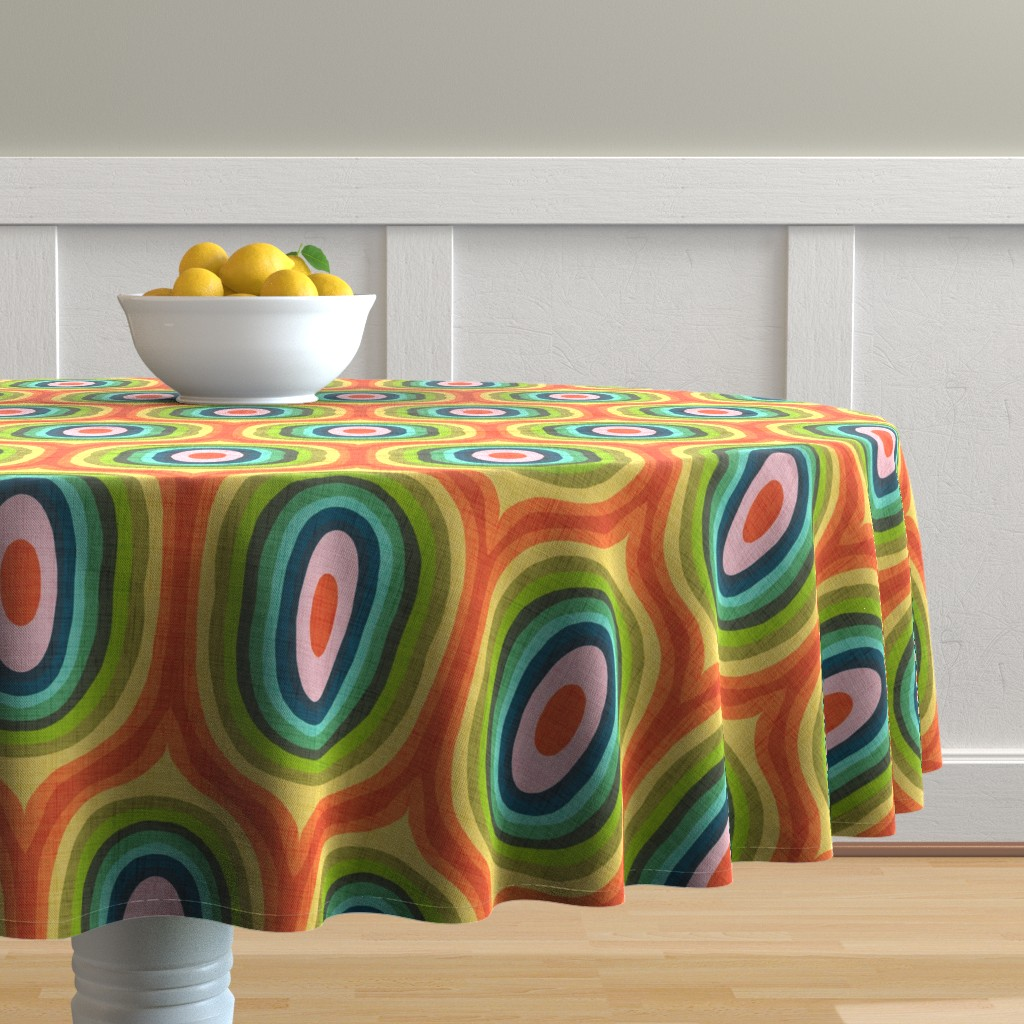 Malay Round Tablecloth featuring Maximalist Ovals - Red by scarlette_soleil