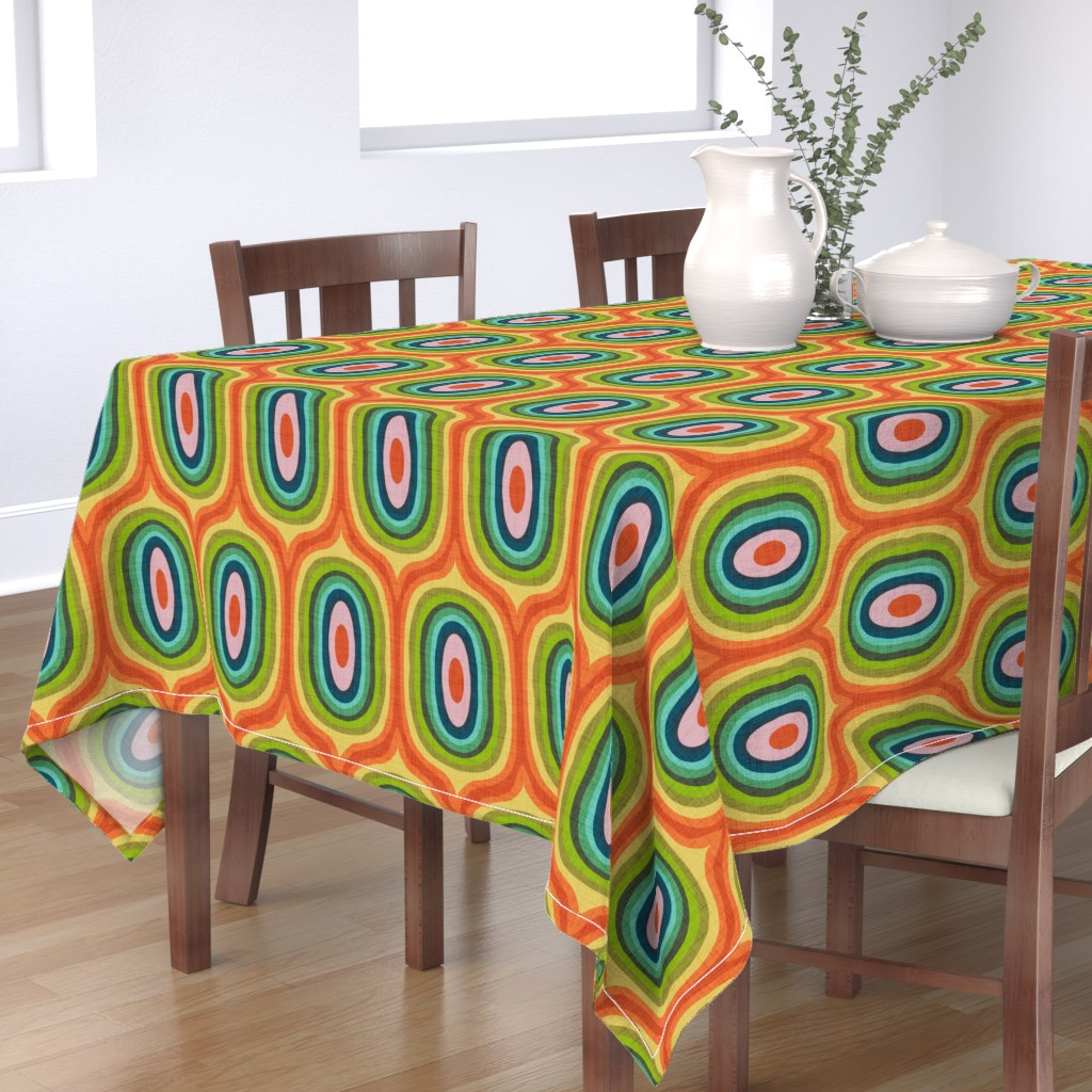 Bantam Rectangular Tablecloth featuring Maximalist Ovals - Red by scarlette_soleil