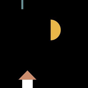 Night in the village little moon geometric city abstract tree boat and house design boys blue yellow black LARGE