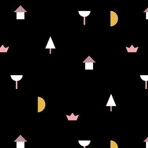 Night in the village little moon geometric city abstract tree boat and house design girls pink yellow black