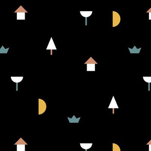 Night in the village little moon geometric city abstract tree boat and house design boys blue yellow black