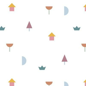 A day in the village little moon geometric city abstract tree boat and house design girls pink yellow white