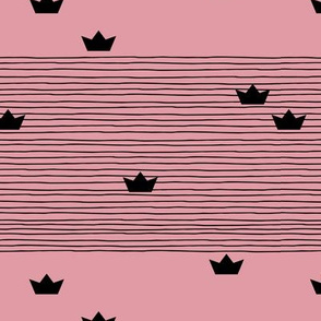 Floating on water little paper boats and abstract water waves stripes pink black