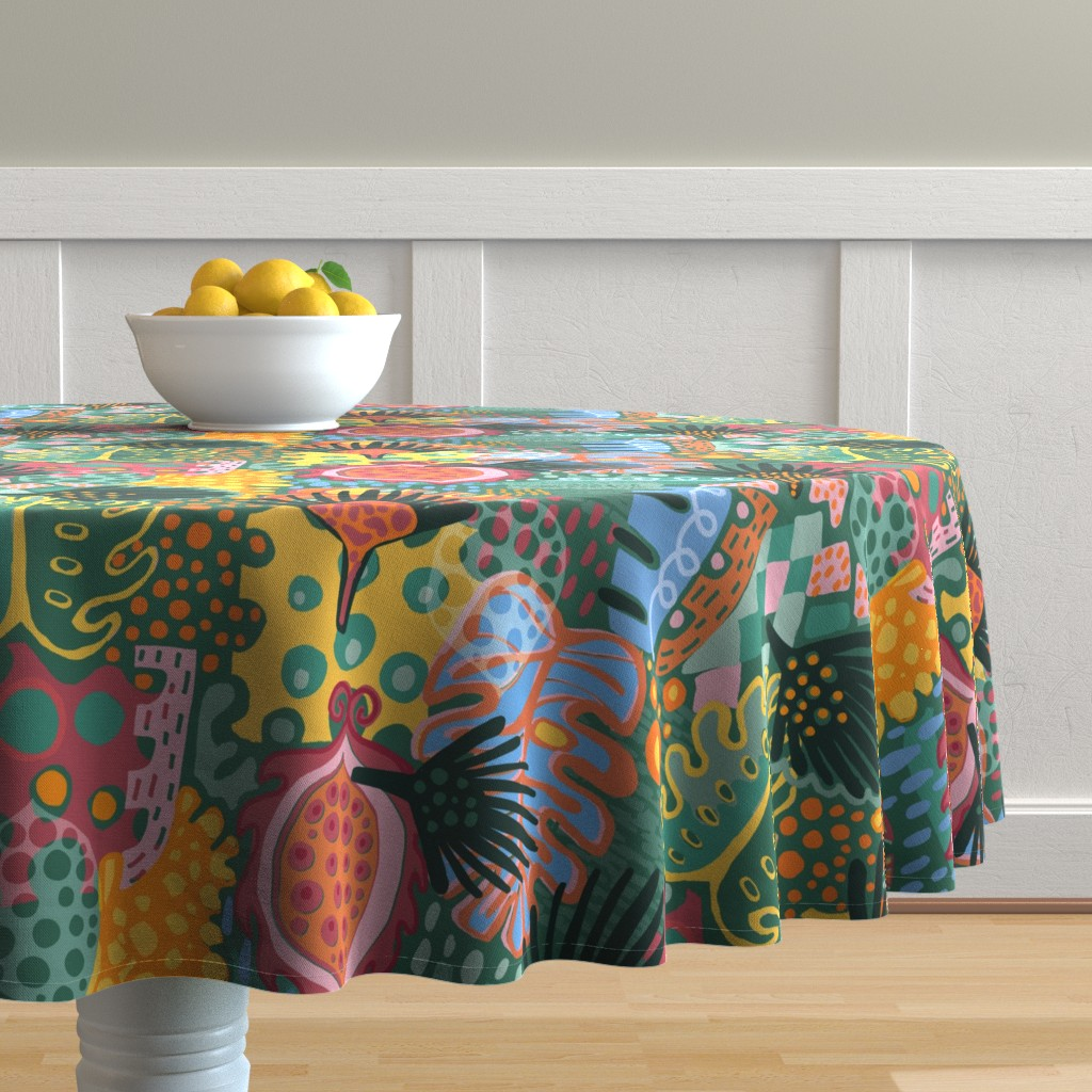 Malay Round Tablecloth featuring Leaf It All In. by slumbermonkey