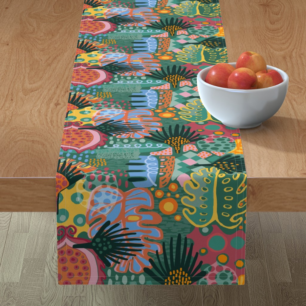 Minorca Table Runner featuring Leaf It All In. by slumbermonkey