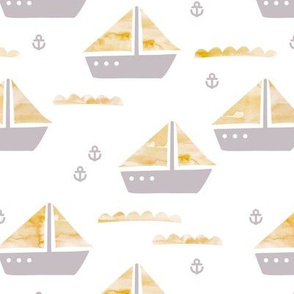 Watercolor sailing boat under water ocean life marine anchor boats mustard gray gender neutral