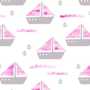 Watercolor sailing boat under water ocean life marine anchor boats pink gray girls