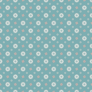 Seamless pattern  mix of flowers and geometric shapes