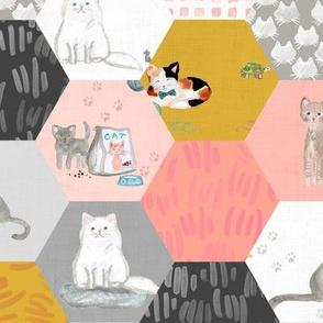 heycat! hexagon whole cloth quilt: gold blush