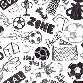 Soccer Sport Rough Game Black and White