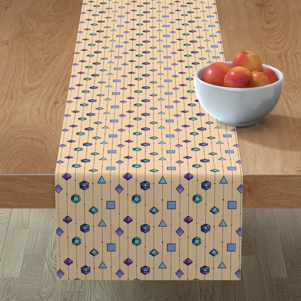 Minorca Table Runner featuring Dice Pinstripes by neonborealis