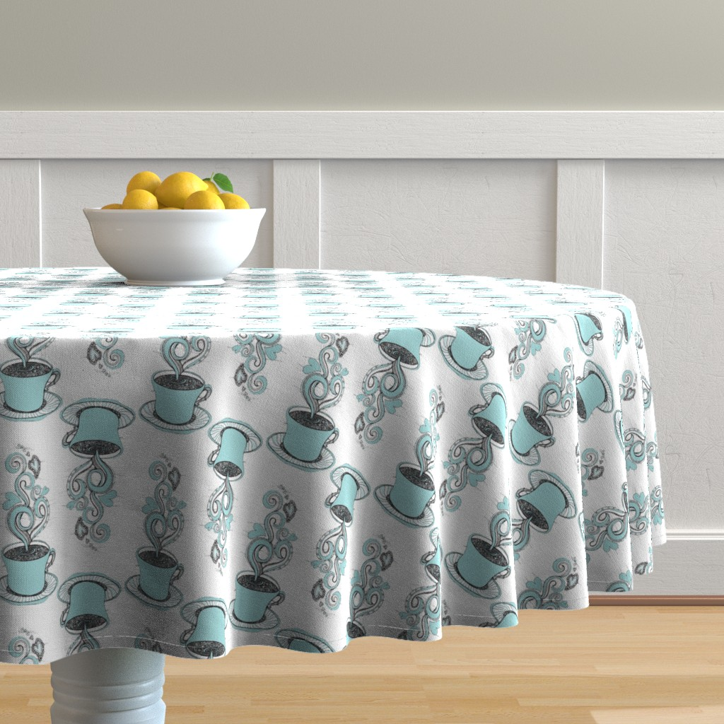 Malay Round Tablecloth featuring Hot Coffee by rebeccaink