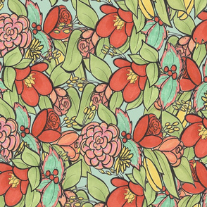 Mint and coral floral