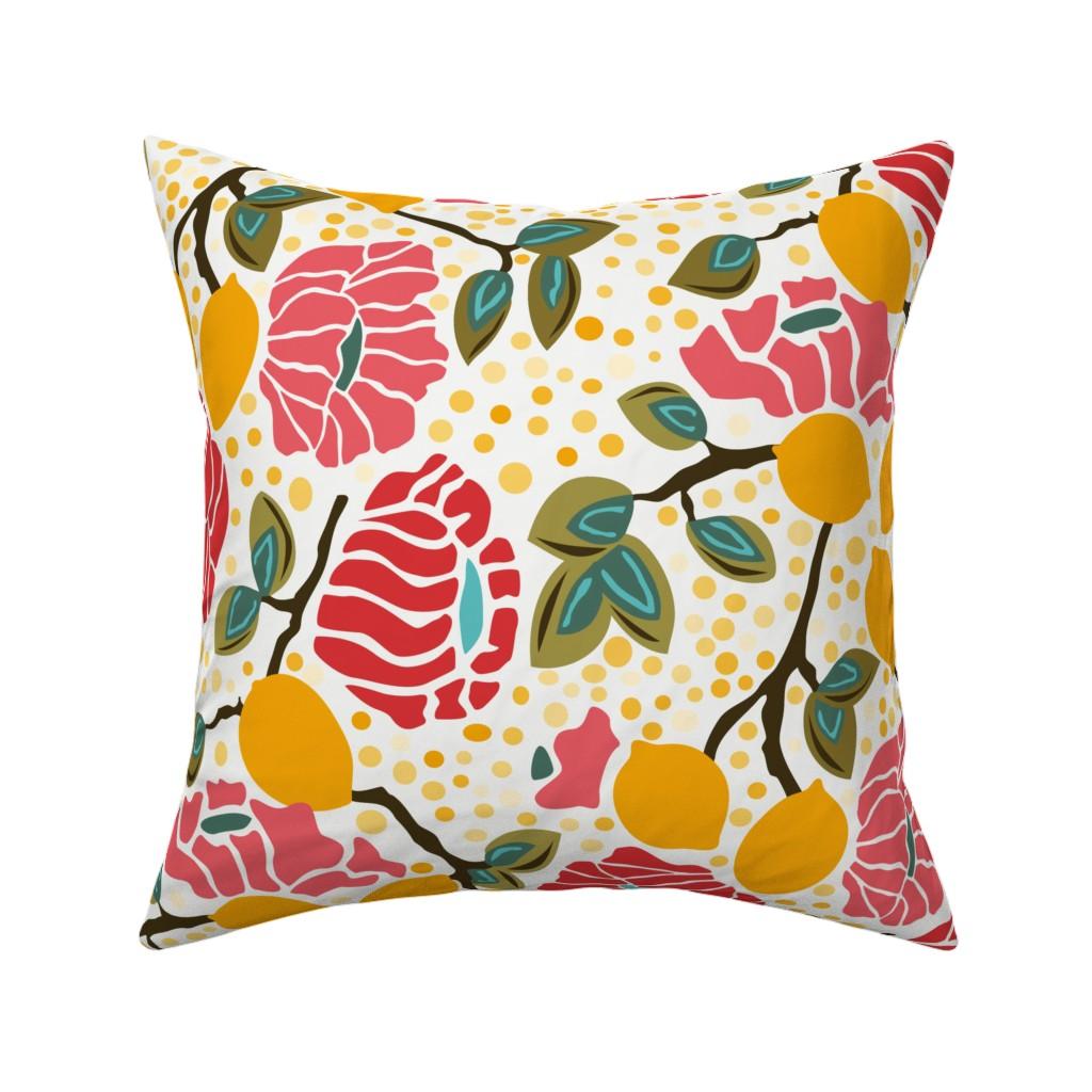Catalan Throw Pillow featuring Lemon Dot by angelastevens