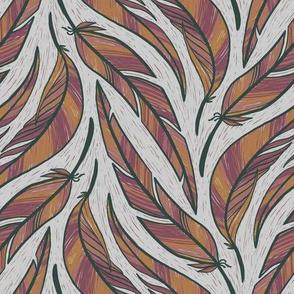 Lino Cut Feathers