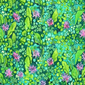Pink Clover Flowers on Green Field, Watercolor Floral Pattern