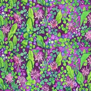 Clover Field, Watercolor Floral Pattern Pink Green Purple