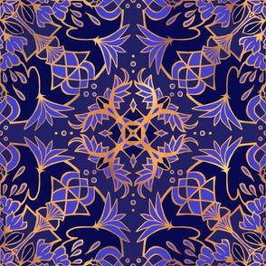 Mandala Lotus Blue + Gold