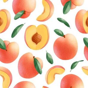 Peaches seamless pattern, medium scale